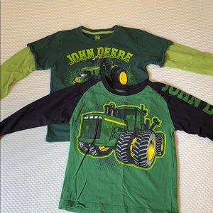 2 Boys Long Sleeve John Deere T-Shirts Size 6